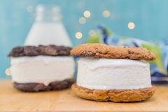 Chocolate Chip Cookie Ice Cream Sandwich in Foreground. On table top stock photography