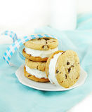 Chocolate Chip Cookie and Ice Cream Sandwiches Royalty Free Stock Photo