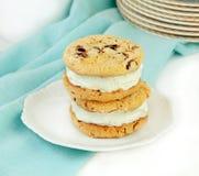 Chocolate Chip Cookie Ice Cream Sandwiches Stock Photo