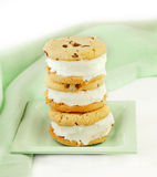 Chocolate Chip Cookie Ice Cream Sandwiches Stock Photography