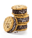 Chocolate Chip Cookie Ice Cream Sandwiches on White Background royalty free stock photo