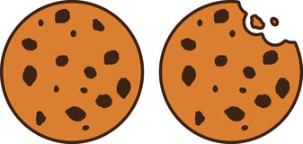 Chocolate Chip Cookie Icon Set ilustração royalty free