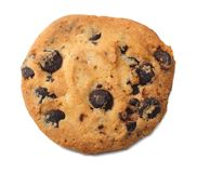 Chocolate chip cookie isolated on white background royalty free stock photography