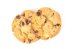 Chocolate chip cookie isolated on white Royalty Free Stock Photos