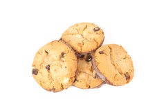Chocolate chip cookie isolated on white Stock Photos