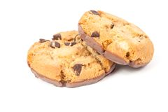 Chocolate chip cookie isolated on white Royalty Free Stock Images