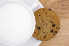 Chocolate chip cookie with milk Stock Photo