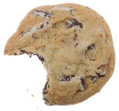 Chocolate chip cookie with a missing bite Stock Photography