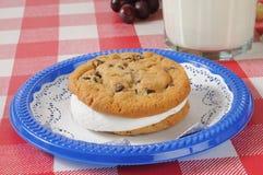Chocolate chip cookie sandwich Stock Photos