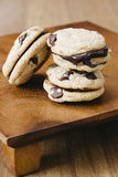 Chocolate Chip Cookie sandwiches stuffed with ganache Stock Image