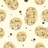 Chocolate chip cookie, Seamless pattern vector. Hand draw sketch vector vector illustration