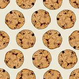 Chocolate chip cookie, Seamless pattern vector. Hand draw sketch vector stock illustration