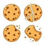 Chocolate chip cookie set. Traditional chocolate chip cookies. Bitten, broken, cookie crumbs. Cartoon vector illustration set vector illustration