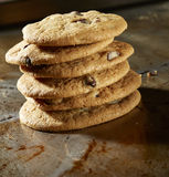 Chocolate Chip Cookie Stack. On baking sheet Royalty Free Stock Photos