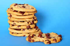 Chocolate chip cookie stack bite Royalty Free Stock Images