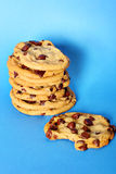 Chocolate chip cookie stack bite vertical Stock Photos