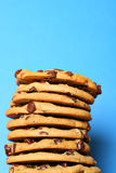 Chocolate chip cookie stack on blue vertical upclo Stock Images