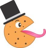 Chocolate Chip Cookie With Tongue y sombrero del castor imagen de archivo