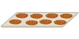 Chocolate chip cookie tray. Eight chocolate chip cookies on a baking tray all isolated on a white background stock illustration
