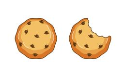 Chocolate chip cookie vector illustration. Top View vector illustration