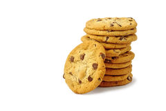 Chocolate Chip Cookie on white Royalty Free Stock Images