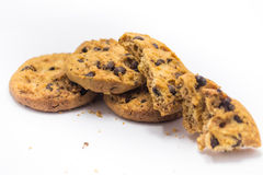 Chocolate chip cookie white background Royalty Free Stock Photos