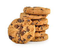 Chocolate chip cookie on white background Royalty Free Stock Images