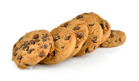 Chocolate chip cookie on white background Royalty Free Stock Photo