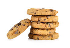 Chocolate chip cookie on white background Royalty Free Stock Photos