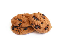 Chocolate chip cookie on white background Royalty Free Stock Image