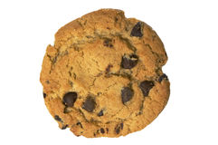 Chocolate chip cookie on white with clipping path Royalty Free Stock Images