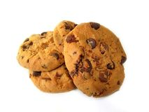 Chocolate Chip Cookies. Sweet chocolate cookies on white background Stock Image