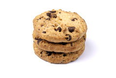 Chocolate chip cookies. Three chocolate chip cookies on white background Stock Photos