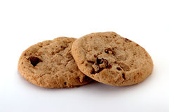 Chocolate Chip Cookies. Two chocolate chip cookies on white Stock Photos