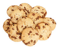 Chocolate Chip Cookies. Heap of chocolate chip biscuits isolated over a white background royalty free stock image