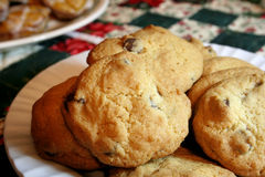 Chocolate chip cookies. Pile of chocolate chip cookies on plate Stock Photography