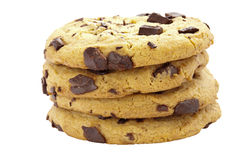 Chocolate chip cookies. Stack of four chocolate chip cookies on an isolated white background Stock Photography