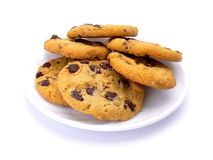 Chocolate chip cookies. On a plate isolated on white background Stock Images