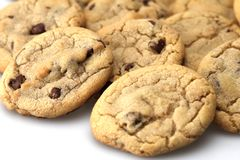 Chocolate Chip Cookies. Pile of hot baked chocolate chip cookies out of the oven royalty free stock photography