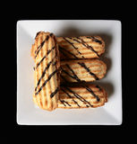Chocolate chip cookies. On a white plate royalty free stock photos