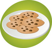 Chocolate chip cookies. Chcocolate chip cookies on plate illustration green background Vector illustration available for download. Click here for more vectors royalty free illustration