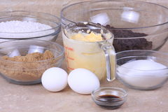 Chocolate chip cookies. The ingredients to make chocolate chip cookies stock photos