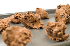 Chocolate Chip Cookies. Closeup view of some uncooked chocolate chip cookies Stock Photo