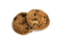 Chocolate chip cookies. On white background Royalty Free Stock Images