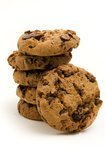 Chocolate chip cookies. On a white background Royalty Free Stock Photo