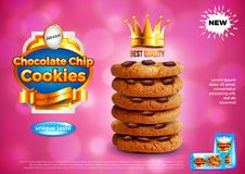 Chocolate chip cookies ads vector background. Chocolate chip cookies ads. Realistic vector background. 3d illustration and packaging vector illustration