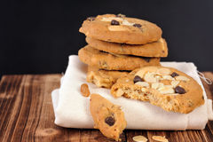 Chocolate chip cookies. With almond royalty free stock photography