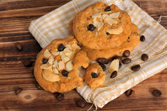 Chocolate chip cookies with almonds and coffee bean Royalty Free Stock Images