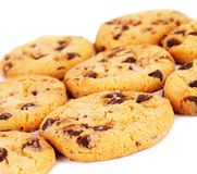 Chocolate chip cookies background. Isolated on white Stock Image