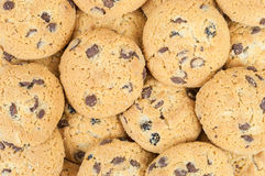 Chocolate chip cookies background Stock Photo